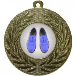 Gold Blue Suede Shoes Medal 50mm