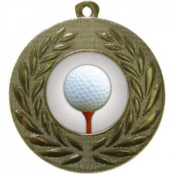 Gold Golf Ball and Tee Medal 50mm