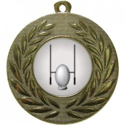Gold Rugby Medal 50mm
