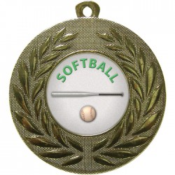 Gold Softball Medal 50mm