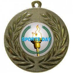 Gold Sports Day Torch Medal 50mm