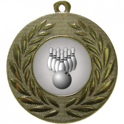 Gold Ten Pin Bowling Medal 50mm