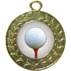 Gold Golf Ball and Tee Medal 45mm