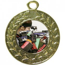 Gold Rifle Shooting Medal 45mm