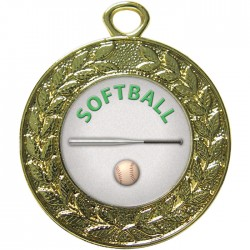 Gold Softball Medal 45mm