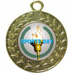 Gold Sports Day Torch Medal 45mm