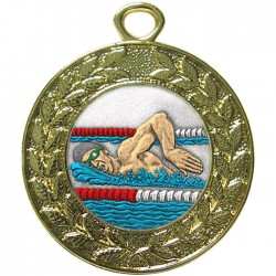 Gold Swimming Medal 45mm
