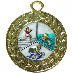 Gold Triathlon Medal 45mm