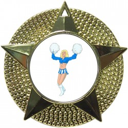 Gold Cheerleader Medal 48mm