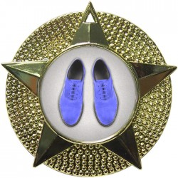 Gold Blue Suede Shoes Medal 48mm