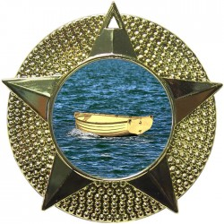 Gold Wooden Dinghy Medal 48mm