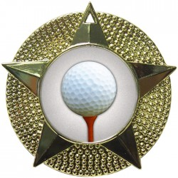 Gold Golf Ball and Tee Medal 48mm