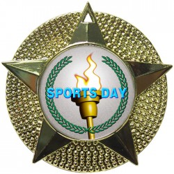Gold Sports Day Torch Medal 48mm