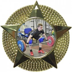 Gold Weightlifting Medal 48mm