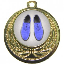 Gold Blue Suede Shoes Medal 40mm