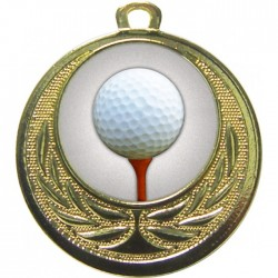 Gold Golf Ball and Tee Medal 40mm