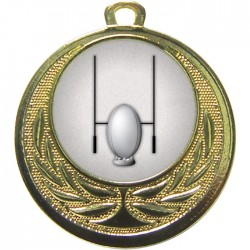 Gold Rugby Medal 40mm