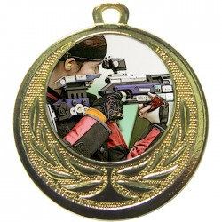 Gold Rifle Shooting Medal 40mm
