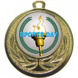 Gold Sports Day Torch Medal 40mm
