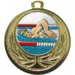 Gold Swimming Medal 40mm
