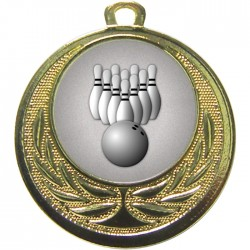Gold Ten Pin Bowling Medal 40mm