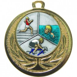 Gold Triathlon Medal 40mm