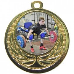 Gold Weightlifting Medal 40mm