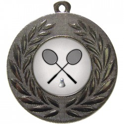 Silver Badminton Medal 50mm