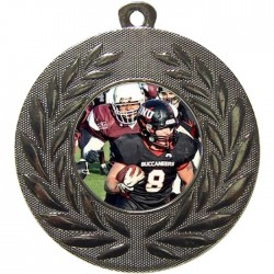 Silver American Football Medal 50mm