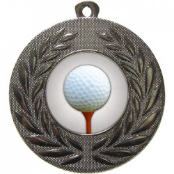 Silver Golf Ball and Tee Medal 50mm