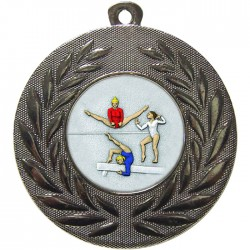Silver Female Gymnastics Medal 50mm