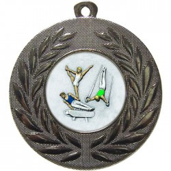 Silver Male Gymnastics Medal 50mm