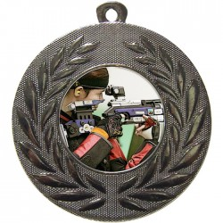 Silver Rifle Shooting Medal 50mm