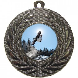Silver Snowboarding Medal 50mm