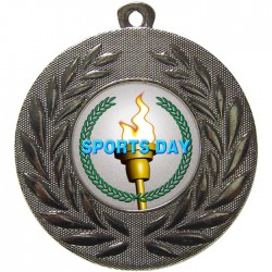 Silver Sports Day Torch Medal 50mm