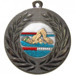 Silver Swimming Medal 50mm