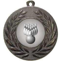 Silver Ten Pin Bowling Medal 50mm