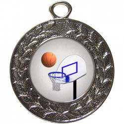 Silver Basketball Medal 45mm