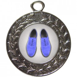 Silver Blue Suede Shoes Dance Medal 45mm