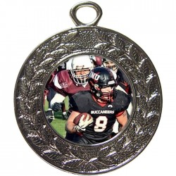 Silver American Football Medal 45mm