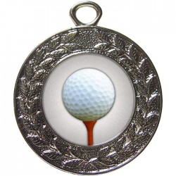 Silver Golf Ball and Tee Medal 45mm