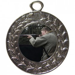 Silver Clay Pigeon Shooting Medal 45mm