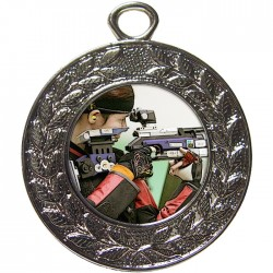 Silver Rifle Shooting Medal 45mm
