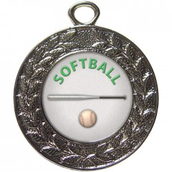 Silver Softball Medal 45mm