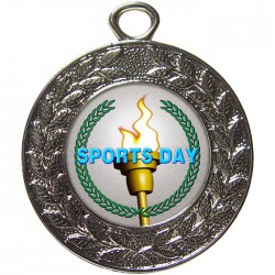 Silver Sports Day Torch Medal 45mm