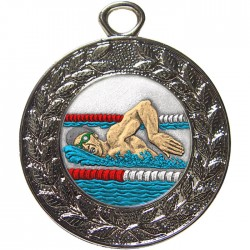Silver Swimming Medal 45mm