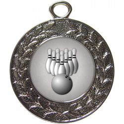 Silver Ten Pin Bowling Medal 45mm