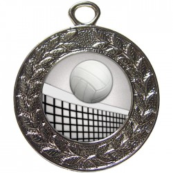 Silver Volleyball Medal 45mm