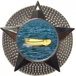 Silver Wooden Dinghy Medal 48mm