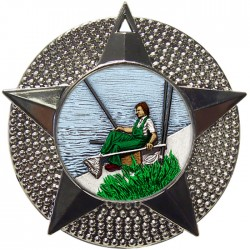 Silver Fishing Medal 48mm